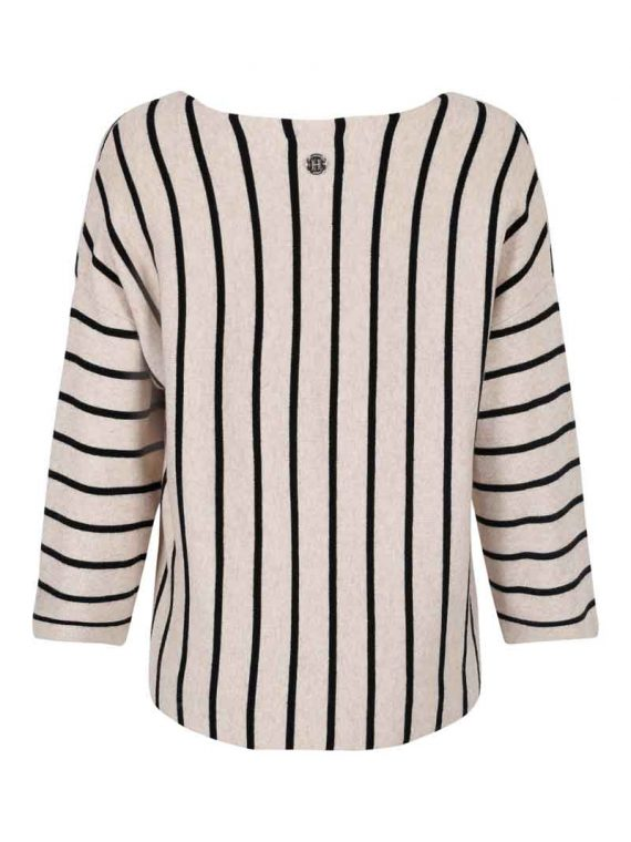 Haust Striped Knitted Pullover Sand 191730 2