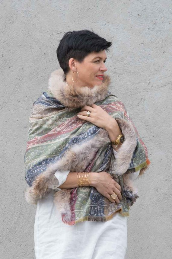 A.M de Paris skjerf PALMYRE silke og ull med Coyote Pels Slate Blue 2