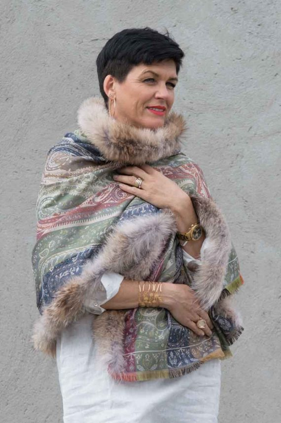 A.M de Paris skjerf PALMYRE silke og ull med Coyote Pels Slate Blue 3