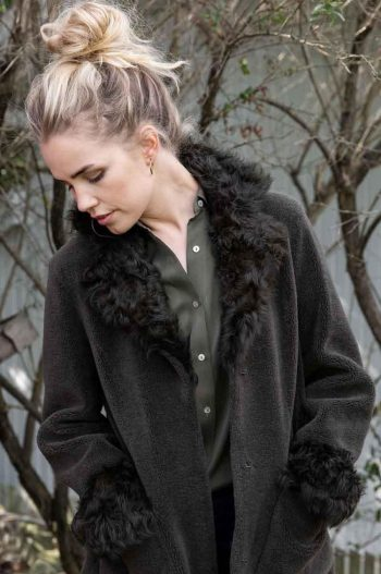 Amuse Shearling Coat Olive