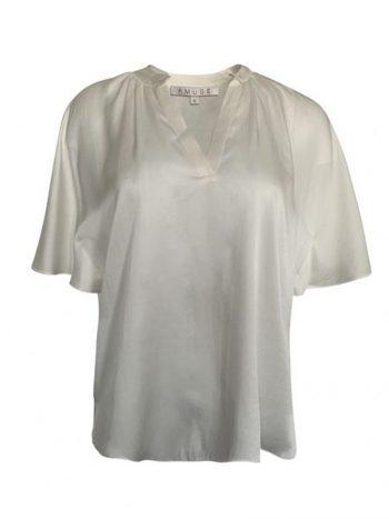 Amuse Silke Topp V-Hals Off White 6101