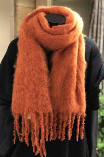 Balmuir Aurora Kid mohair scarf, 35x160cm, brick