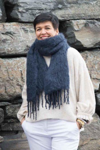 Balmuir Aurora Kid mohair scarf, 35x160cm, midnight