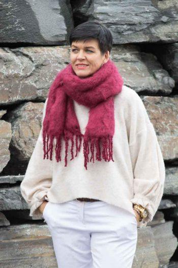 Balmuir Aurora Kid mohair scarf, 35x160cm, wine