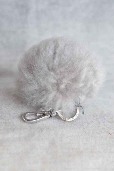 Balmuir Chamonix pom pom keyring, L, soft grey/silver