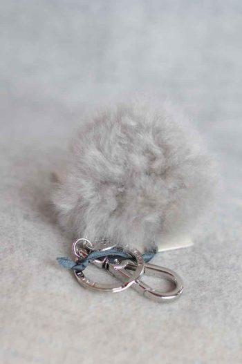 Balmuir Chamonix pom pom keyring, M, soft grey/silver