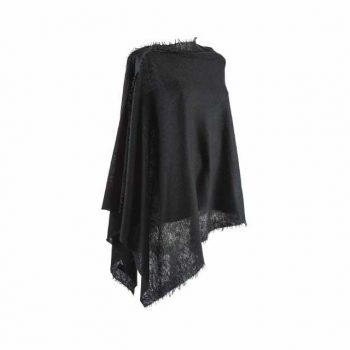Balmuir Helsinki Poncho Black 100 % Cashmere