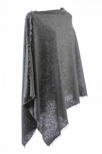 Balmuir Helsinki Poncho Dark Grey Melange 100 % Cashmere