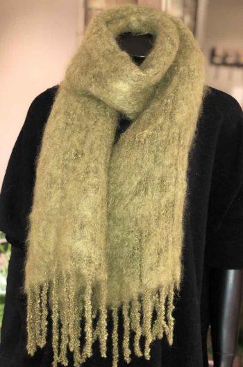 Balmuir Aurora Kid mohair scarf, 35x160cm, green moss