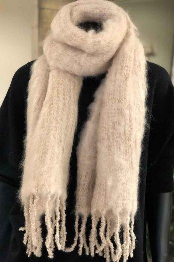 Balmuir Aurora Kid mohair scarf, 35x160cm, light sand