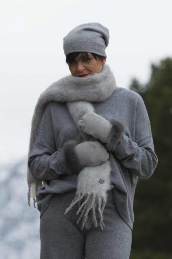 Balmuir Aurora Kid mohair scarf, 35x160cm, stone grey