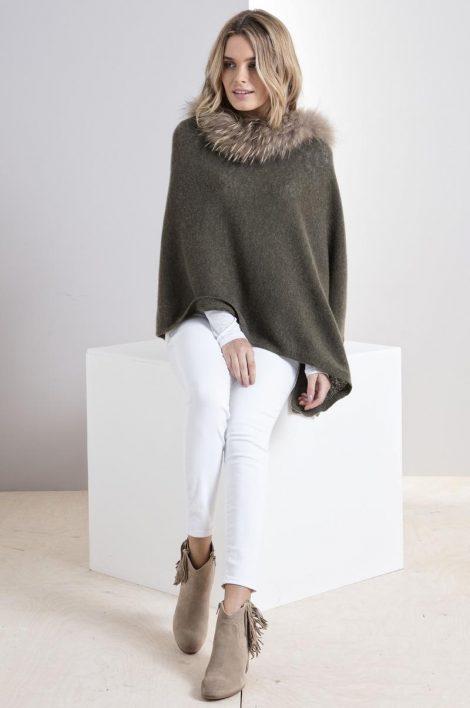 Brodie Mini Fur Poncho Army Grn 2714-293