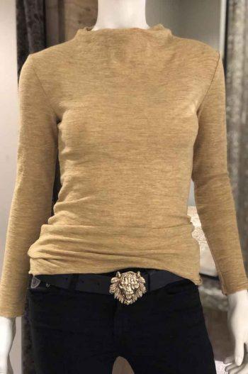 By Basics Shirt Drapped Neckline Grain Melange