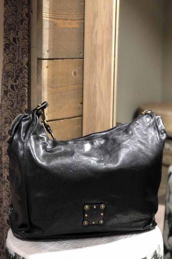 Campomaggi Shoulder Bag Cow + Studs Black