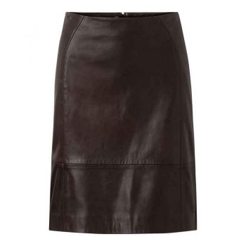 Depeche Leather Skirt Lamb Brown 12228