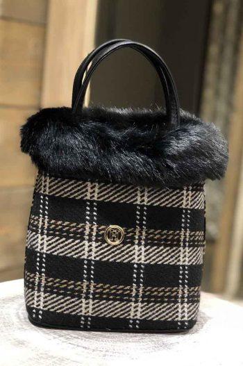 Haust Fur Bag Black Checked