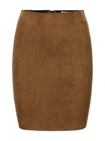 Haust Suede PU Skirt Cognac