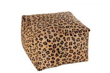JL Hassock Leopard Sq Leather Mix 45x45x33 cm