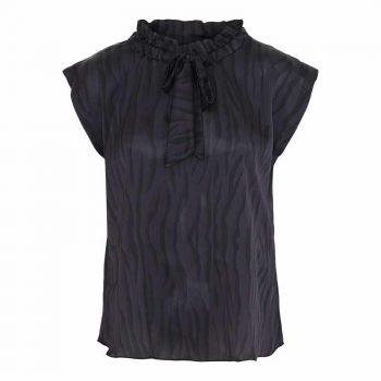 Karmamia Black Zebra Tie Blouse
