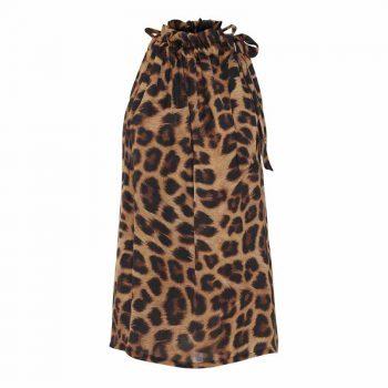 Karmamia Leopard Ruffle Tie Top 41023