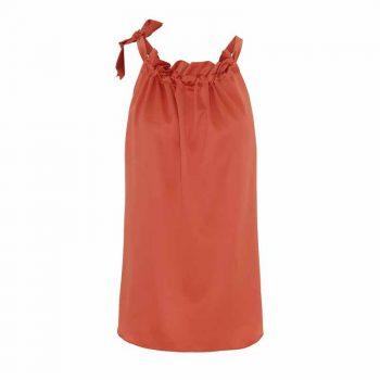 Karmamia Tangerine Ruffle Tie Top