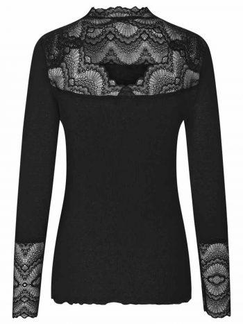 Rosemunde Silk T-Shirt Regular ls W/Lace Black 4561-010