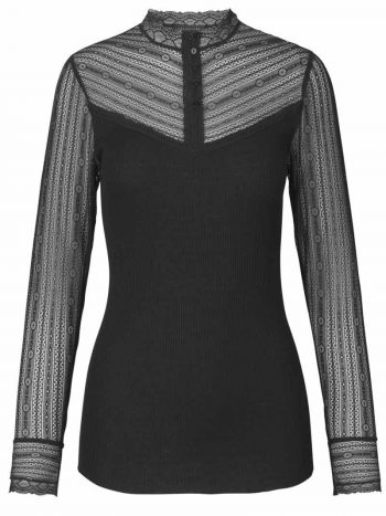 Rosemunde Silk T-Shirt Turtleneck Regular Is w/Lace Black 4570-010